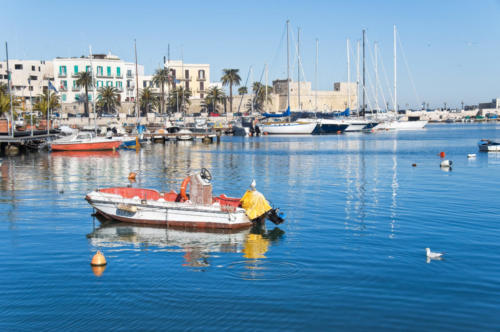 Panoramic view of Bari seaport. Apulia.